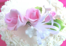 Gum Paste Sugar Pink Roses & Rosebud, Leaves, Ribbon Cake Decorating Flowers