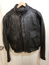 Cosmos Leather Motorcycle Bomber Jacket w/ Snapout Liner ~ Large