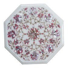 Coffee Table Top Mother of Pearl Inlaid Marble Side Table with Elegant Look