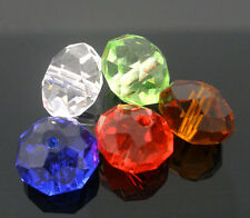 50 Mixte Perles Verre Cristal Quartz Coloré Facette Rondelle 10mm