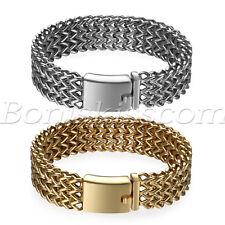 Men's Heavy Wide Stainless Steel Bracelet Woven Chain Cuban Curb Link Wristband