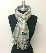 100% CASHMERE SCARF Scotland SOFT Wool Wrap Plaid Gray peach brown⭐️⭐️⭐️⭐️⭐️(30)