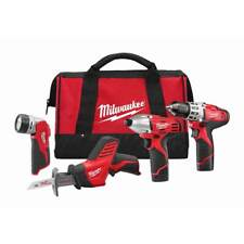 Milwaukee 2498-24 M12 12V Cordless Power Lithium-Ion 4-Tool Combo Kit