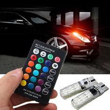 2 x T10 5050 6 SMD RGB LED Coche Mazo Lámpara Piloto Lateral De Lectura +Mando