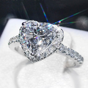 Ladies Beauty Heart Clear Crystal Gemstone 18K White Gold Filled Eternity Ring