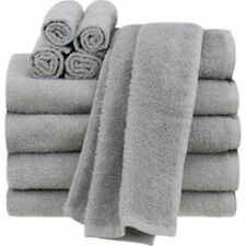 Bathroom Towel Grey Set Of 10 - 4 Bath 2 Hand Towels 4 Wash Cloths 100% Cotton