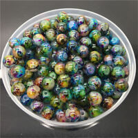 Bulk 30Pcs 8mm Double Color Glass Pearl Round Spacer Beads For Jewelry Making