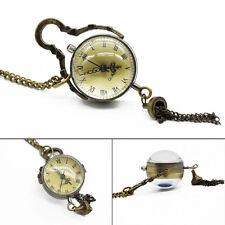 Antique vintage glass Ball bull eye collier pendentif chaîne quartz poche wat