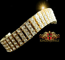 New Mens 14k Yellow Gold Finish 4 Row Lab Diamond Simulated Tennis Bracelet 8.5""