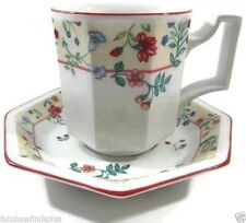 Johnson Brothers Heritage Enchantment Octagonal Cup and Saucer Florals Red Trim