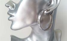 "Beautiful silver tone & acrylic diamante effect bead hoop earrings, 2"" - 5cm NEW"