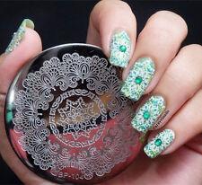 Encaje floral con étnica Mandala Remolinos bastante Stamping Placa Nail Art