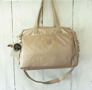 New $158 Kipling Popper Diaper Baby Bag Rose Gold Changing Pad Large Tote Monkey