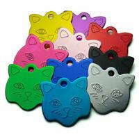 Custom Pet ID Tags Cat Face Shape, 10 Colors, Personalized Premium Aluminum