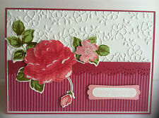 Handmade female birthday card. Dark pink roses.