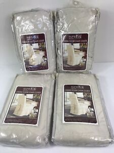 """Sure Fit Dining Chair Slipcovers 42"""" Tall Duck Natural Lot of 4 Home Table Decor"""