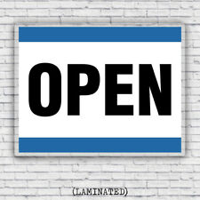 Open Retail Business Storefront Laminated Sign - Blue and White