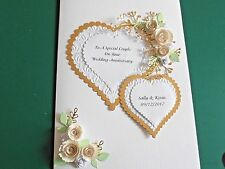 Personalised Handmade Gold Anniversary/ Wedding Day Card Ivory Roses & Hearts