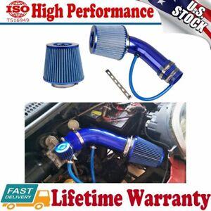 "Blue Air Intake Kits Pipe Diameter 3""+Cold Air Intake Filter+Clamp+Accessories"