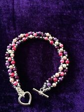 Multi colour Glass pearl & silver colour beads  Silver plated Toggle Heart Clasp