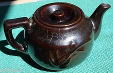 MADSON Teapot MADE IN OCCUPIED JAPAN Brown Glaze Embossed Flower Lily Iris w Lid