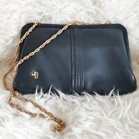 Jane Shilton Women's Handbag Bag Navy Blue Gold Small Clubhouse Vintage VGC
