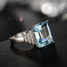 Solid 14K White Gold Diamond Pave 7.53ct Topaz Engagement Wedding Gemstone Ring