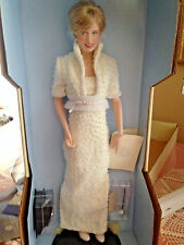 Diana Princess of Wales Porcelain Doll Franklin Mint White Pearl Dress NEW w Box