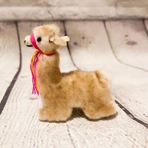 "Vtg Mini 3"" Peruvian Alpaca Stuffed animal Plush llama fur White Brown handmade"