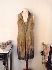 New W by Worth Silk Pea pod & Tangerine Brushstroke Border Chiffon Dress SZ 8