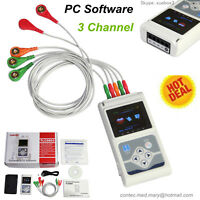 3 Channel 24H ECG/EKG Holter System Analyzer Recorder Monitor+PC Software USA