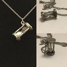 Vintage Silver Sand Timer Vial Chain Pendant Necklace