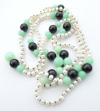 Pearl Onyx Green Agate Hand Knotted Deco Style Long Necklace