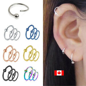 Punk Stainless Steel Ball Lippy Loop Lip Ring Helix Cartilage Stud Body JewY.ec