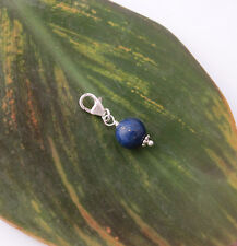 925 Sterling silver 8mm blue LAPIS gemstone clip on charm