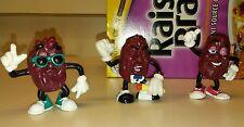 "Mint New Vintage California Raisins Characters Figures Toys (3) 1987-88 2.5 - 3"""
