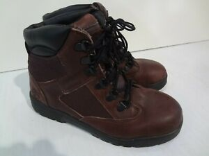 Timberland 6 inch Boy Field Boots Size 4.5 Burgundy Black Leather 43923