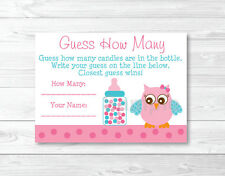 "Pink Owl Printable Baby Shower ""Guess How Many?"" Game Cards"