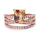 Elegant Emerald Cut Rings for Women White Sapphire Jewelry Wedding Ring Sz 5-13