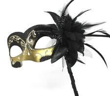 Black & Gold Venetian Masquerade Party Prom Carnival Eye Mask Hand Held Stick
