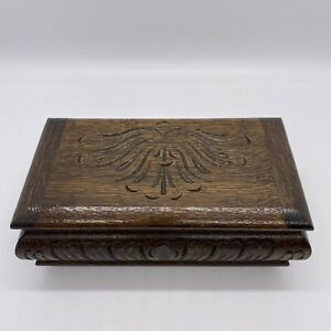 Vintage Musical Jewellery Box Wooden Hand Carved Working 19cm x 11cm x 7cm