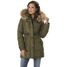 Women's Rocawear Hooded Snorkel Jacket Olive M #NJG2Q-598