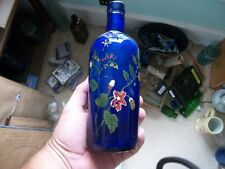 NEAT EARLY COBALT BLUE MEDICINE BOTTLE HAND PAINTED BY LITTLE GIRL WHO DIED 1922