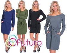 Womens Bubble Dress Tied Mini Dress Open Back Tunic Long Sleeve Size 8-12 2769