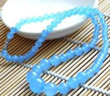 "Beads Necklace 18"" Aaa 6-14mm Brazilian Aquamarine Gemstones Round"
