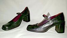 Vtg Black KENNETH COLE New York Mary Jane Stack High Heel Size 8.5 B Shoes