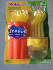 NUBY TRAVEL CASE 9 PIECES SPOONS - YELLOW AND ORANGE BPA FREE NEW FREE SHIPPING