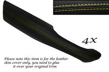 YELLOW STITCH 4X DOOR HANDLE ARMREST LEATHER COVERS FITS RANGE ROVER P38 94-02