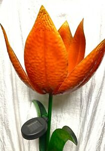 "Large Solar Tulip Flower Glass & Metal Garden Stake Sunset Vista 45"" Orange"