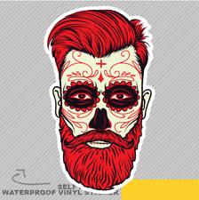 Beard Men Face Sugar Skull Tattoo Vinyl Sticker Decal Window Car Van Bike 2663